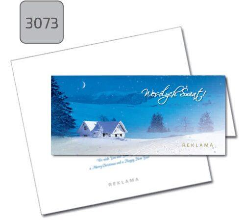 kartka świąteczna firmowa 3073 pozioma składana niebieska