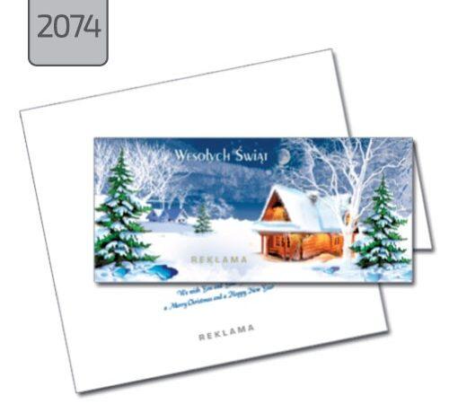 kartka firmowa świąteczna 2074 pozioma składana pejzaż zimowy