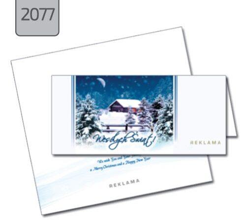 kartki świąteczne z nadrukiem firmowym 2077 pejzaż zimowy
