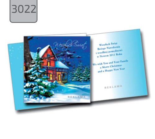 kartka świąteczna z życzeniami 3022 składana kwadratowa pejzaż zimowy