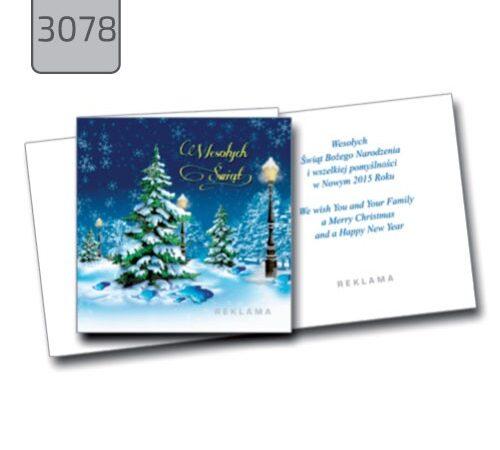 kartka świąteczna z życzeniami dla firm 3078 choinka pejzaż zima