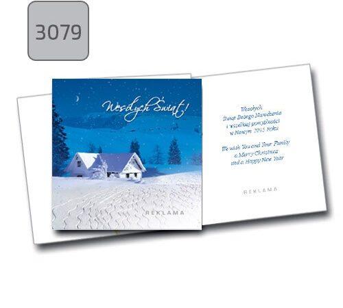 karta świąteczna firmowa 3079 składana kwadratowa niebieska zima
