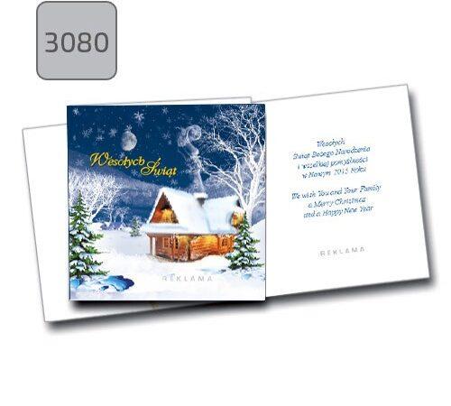 kartka świąteczna zimowy pejzaż 3080 składana