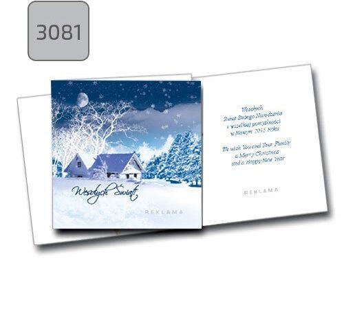 kartka świąteczna z życzeniami i nadrukiem firmowy,m 3081 zima