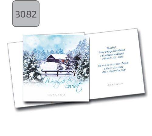 kartka świąteczna z pejzażem zimowym 3082 składana kwadratowa