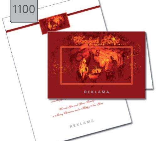 kartka firmowa na Boże Narodzenie ze żłóbkiem 110 składana pozioma czerwona
