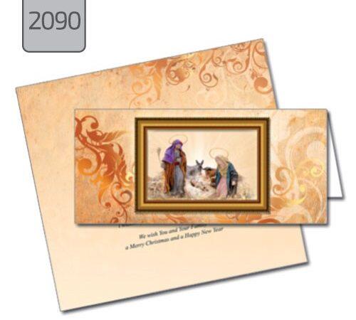 kartka świąteczna ze żłóbkiem Boże Narodzenie składana pozioma 2090