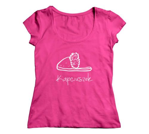 różowa koszulka dla kobiet z nadrukiem - kapciuszek