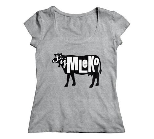 szary damski t-shirt z nadrukiem - pij mleko