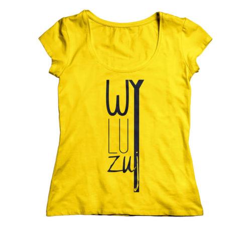 koszulka damska koloru żółtego z nadrukiem - wyluzuj