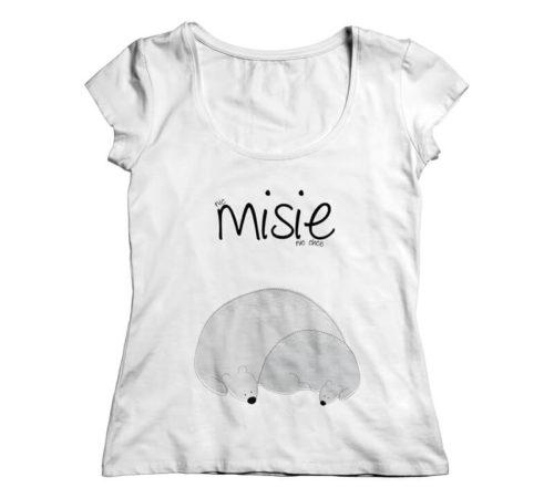 damska biała koszulka z nadrukiem - nic misie nie chce