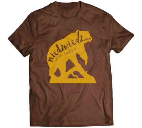 koszulka męska koloru brązowego z nadrukiem - niedźwiedź(iałem) że tak będzie