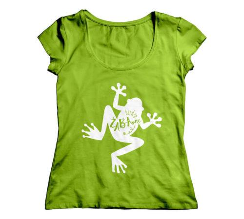koszulka damska koloru zielonego z nadrukiem - bardzo ŻABAwne
