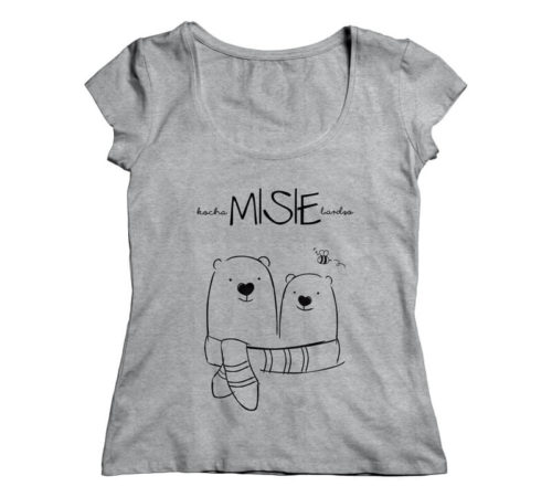szara damska koszulka z nadrukiem - kocha MISIE bardzo