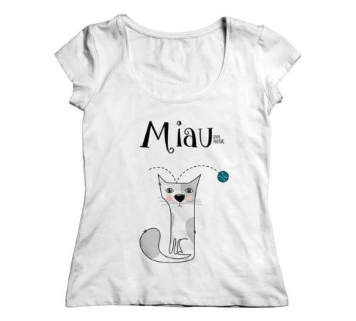 biały damski t-shirt z nadrukiem - MIAUbym proszę