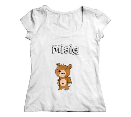 koszulka damska z nadrukiem - potwornie MISIE nie chce z miśkiem punkowcem