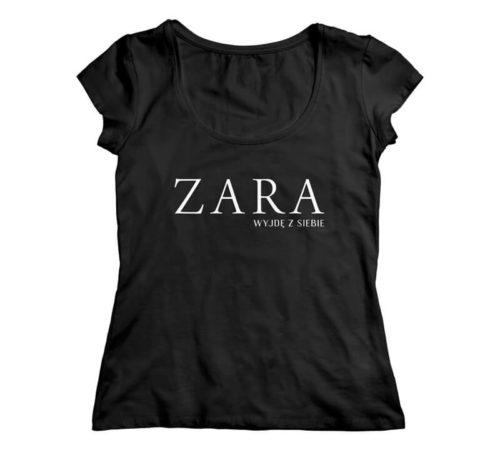 koszulka damska koloru czarnego z nadrukiem - ZARA wyjdę z siebie