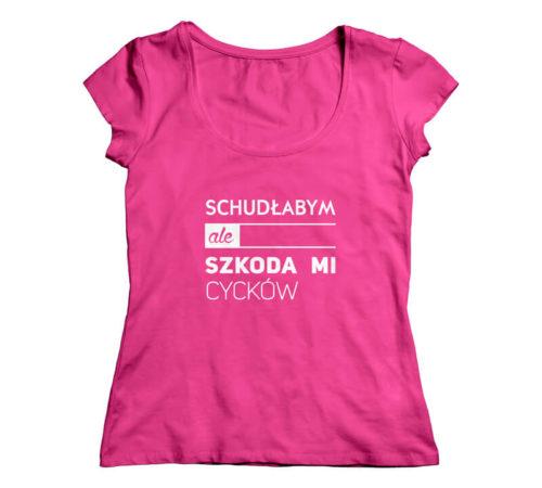 t-shirt damski koloru różowego z nadrukiem - schudłabym ale szkoda mi cycków