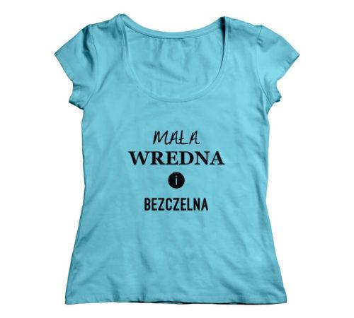 niebieski damski t-shirt z nadrukiem - mała wredna i bezczelna
