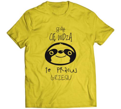 koszulka męska koloru żółtego z nadrukiem - gdy cię widzą to pracuj grzesiu