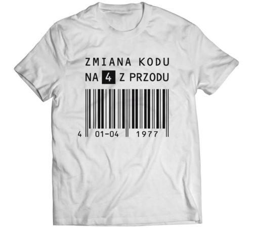 t-shirt męski koloru białego z nadrukiem - zmiana kodu na 4 z przodu
