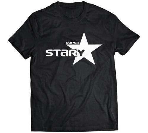 czarny męski t-shirt z nadrukiem - super stary