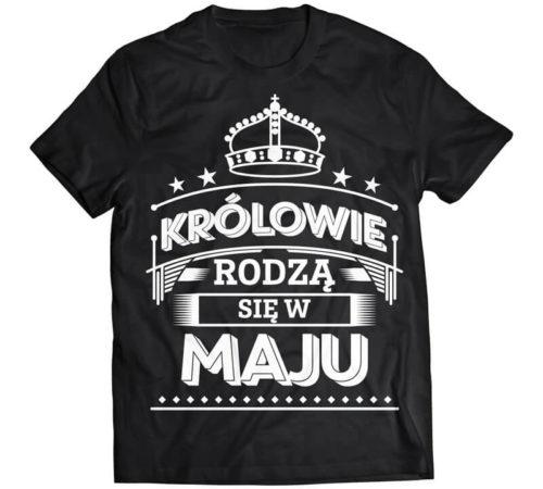 czarny męski t-shirt z nadrukiem - królowie rodzą się w maju