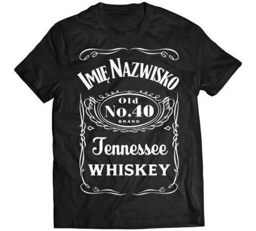 koszulka męska koloru czarnego z nadrukiem w stylu Jacka Danielsa
