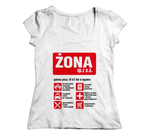 t-shirt damski koloru białego z nadrukiem - żona sp. z o.o.