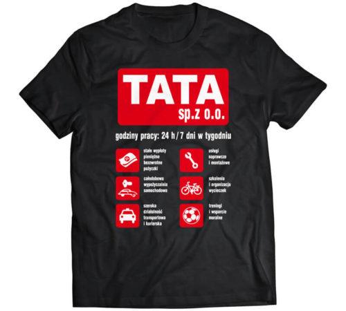 czarny męski t-shirt z nadrukiem - tata sp. z o.o.