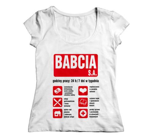 koszulka damska koloru białego z nadrukiem - babcia s.a.