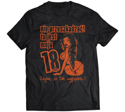 czarna męska koszulka z nadrukiem - nie przeszkadzać! to jest moja 18-stka, chyba, że tak wyglądasz :)