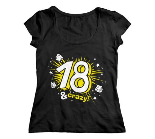 t-shirt damski koloru czarnego z nadrukiem - 18 & crazy
