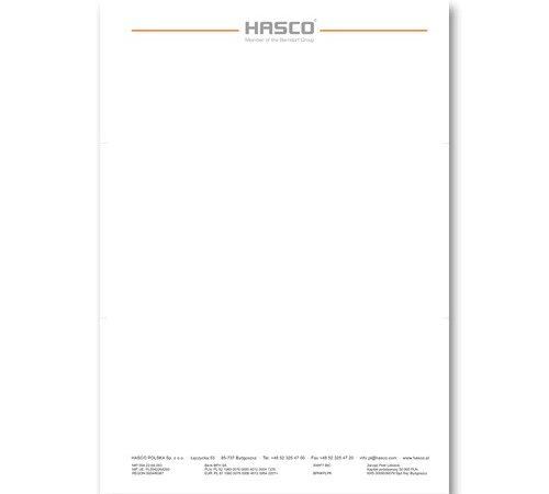 listownik, druk firmowy Hasco A4