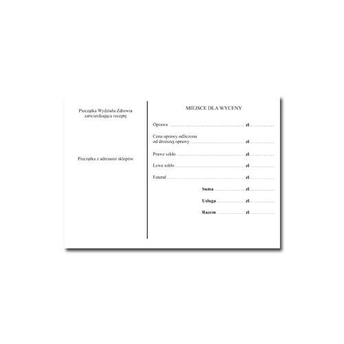 Recepta okularowa i inne druki A6