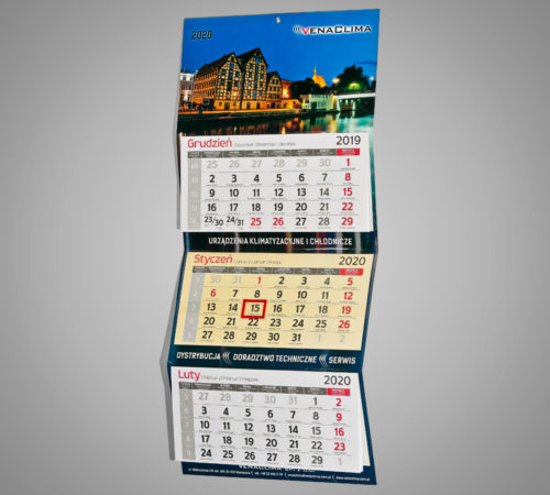 Kalendarz trójdzielny ekonomiczny VENACLIMA